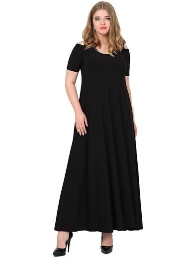 Angelino Butik Büyük Beden Omzu Yırtmaçlı Uzun Abiye Elbise KL1101Z Siyah